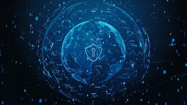 Schildpictogram van digitale gegevens van cyberbeveiliging