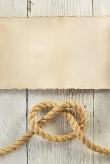 Schip touw op houten achtergrond
