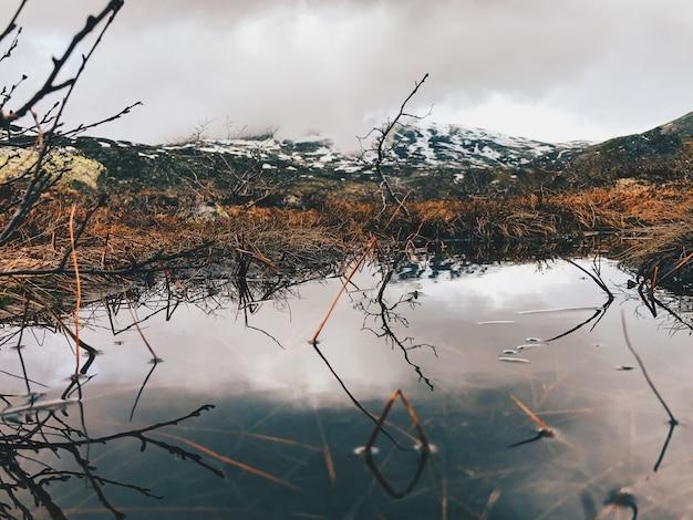 Schitterende bergen weerspiegelen in het meer