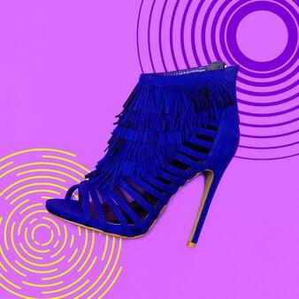 Schoenen met hakken. concept mode. stijl kunst minimaal. plat leggen
