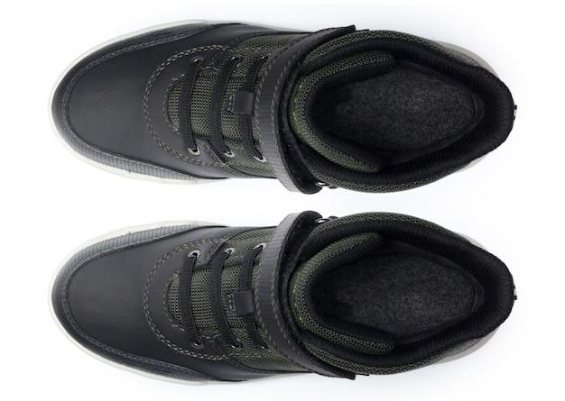 Schoenen op wit worden geïsoleerd dat. bovenaanzicht.