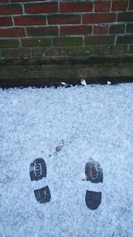 Schoensporen op de eerste sneeuw