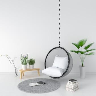 Schommel en hoofdkussen in witte ruimte voor mockup