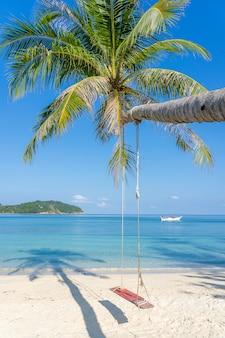 Schommel hang van kokospalm over zandstrand in de buurt van blauw zeewater op het eiland koh phangan