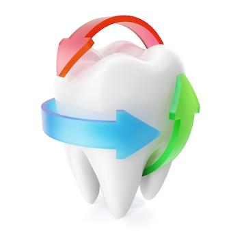 Schone en glanzende realistische tandbescherming die op witte achtergrond, beschermingsconcept wordt geïsoleerd. 3d-weergave