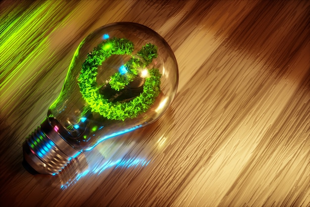 Schone energie concept 3d computer gegenereerde afbeelding