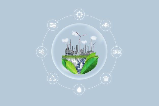Schone energie, milieuvriendelijk concept van industriële en natuurlijke hulpbronnen.