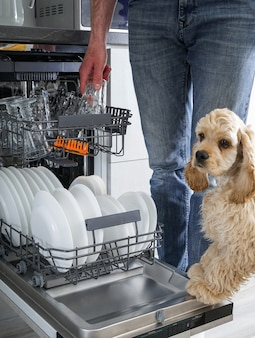 Schone vaat in de vaatwasser in de keuken. na het wassen.