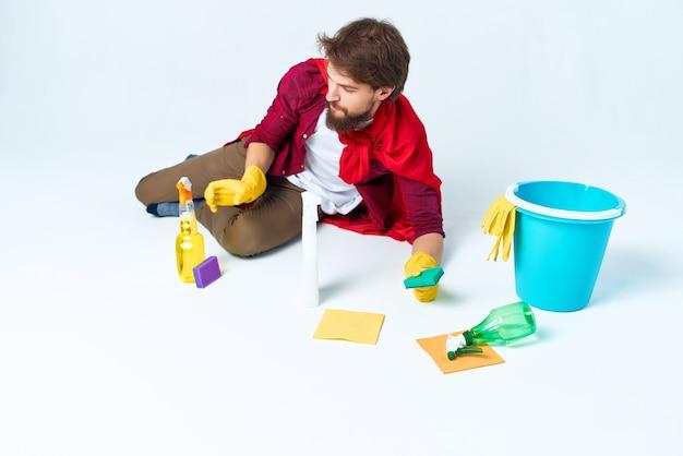 Schoner schoonmaken van het appartement professionele lifestyle. hoge kwaliteit foto