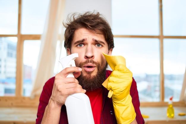 Schoner wasmiddel professionele huishoudelijke schoonmaakservice lifestyle.
