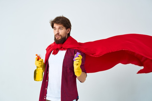 Schonere rode mantel schoonmaak hygiëne dienstverlening