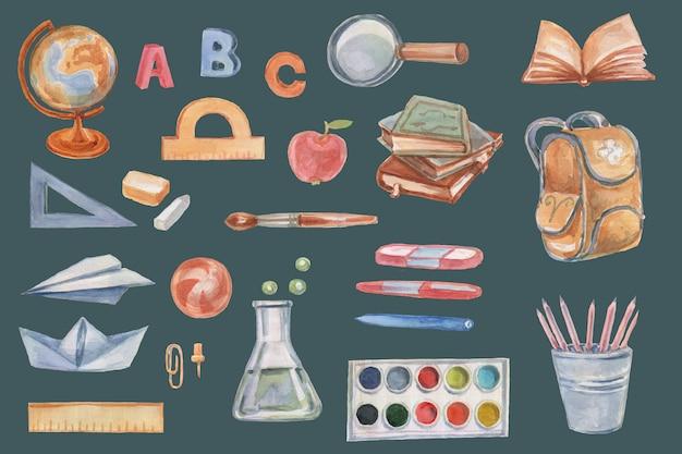 School schoolbenodigdheden set clipart aquarel met de hand