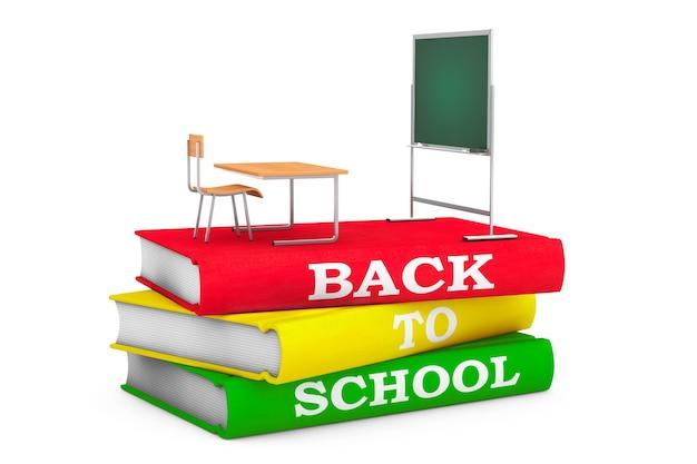 Schoolbank met schoolbord over boeken met terug naar schoolteken op een witte achtergrond. 3d-rendering