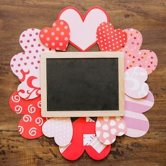 Schoolbord op valentijnsdag kaarten