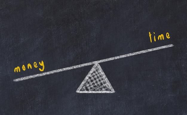 Schoolbord schets illustratie. begrip balans tussen geld en tijd