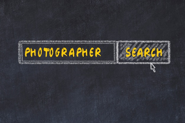Schoolbord schets van de zoekmachine. concept van het zoeken naar fotograaf