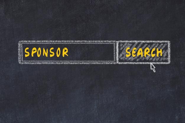 Schoolbord schets van de zoekmachine. concept van het zoeken naar sponsor