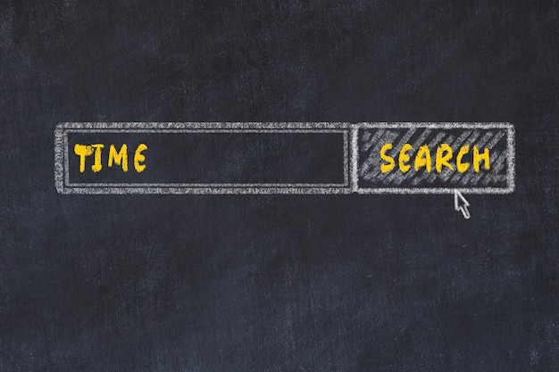 Schoolbord schets van de zoekmachine. concept van het zoeken naar tijd