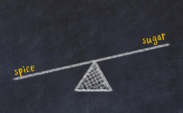 Schoolbordschets van schalen. concept evenwicht tussen suiker en kruid
