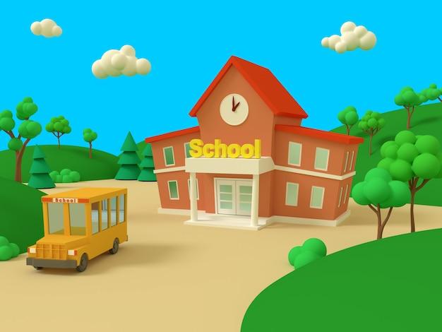 Schoolgebouw en gele bus met groene zomer prachtige landschap. terug naar school. volumetrische stijl illustratie. 3d renderen.