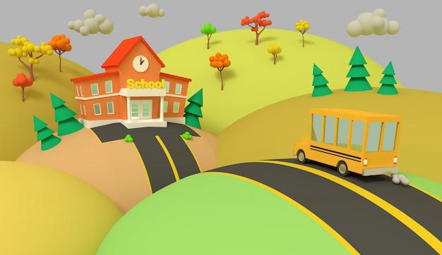 Schoolgebouw en gele bus met herfst prachtige landschap. terug naar school. volumetrische stijl illustratie. 3d renderen.
