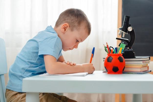 Schooljongen om thuis te zitten klaslokaal liggend bureau gevuld met boeken trainingsmateriaal schoolkind slapen lui verveeld