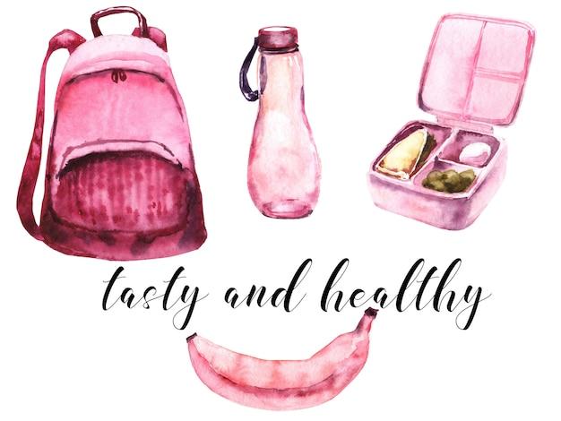 Schoolmeisjes roze leveringen aquarel set. schoolmaaltijd