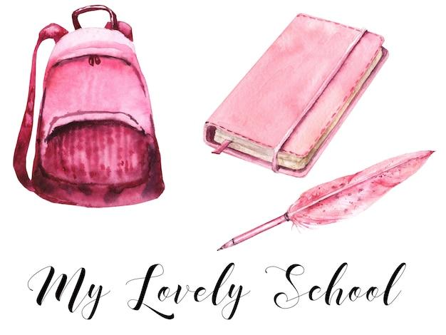 Schoolmeisjes roze leveringen aquarel set