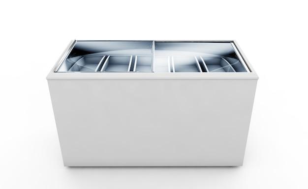Schoon ijs vriezer leeg geïsoleerd op een witte achtergrond. 3d-rendering