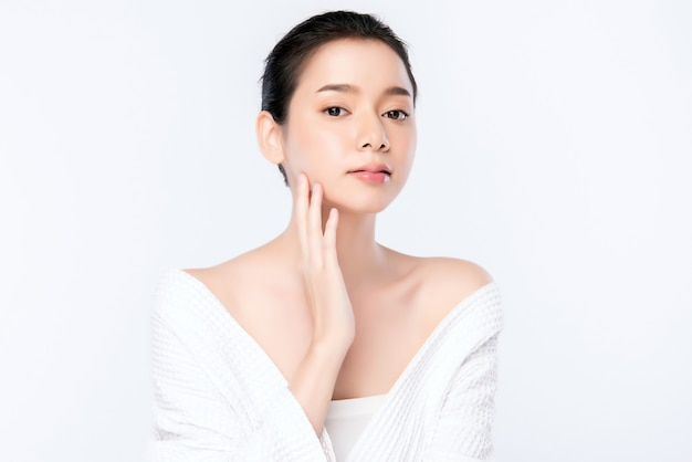 Schoon vers naakt de huidconcept van de portret mooi jong aziatisch vrouw. aziatisch meisje schoonheid gezicht huidverzorging en gezondheid wellness, gezichtsbehandeling, perfecte huid, natuurlijke make-up ,, twee