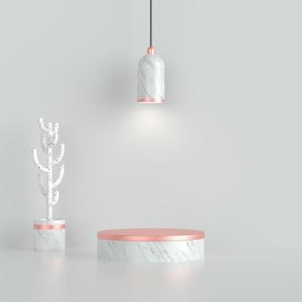 Schoon wit marmeren podium met chroomlicht en cactus op witte achtergrond.