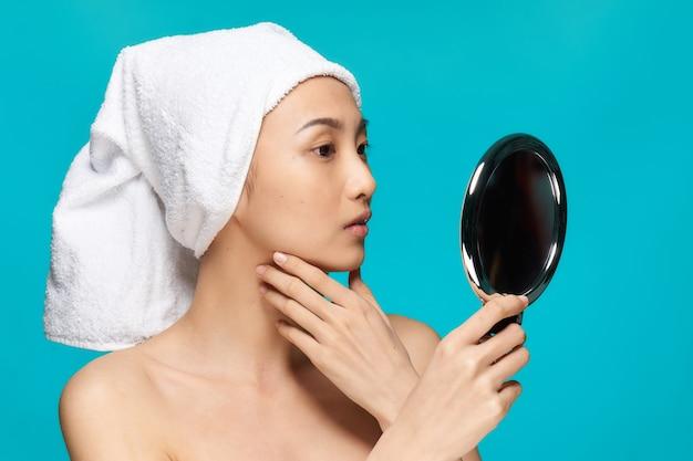 Schoonheid aziatische vrouw huidverzorging, schoonheid