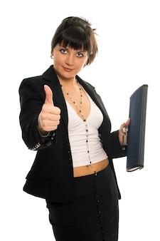 Schoonheid brunette zakelijke dame op witte achtergrond