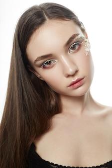 Schoonheid gezicht make-up, cosmetica van bloemblaadjes