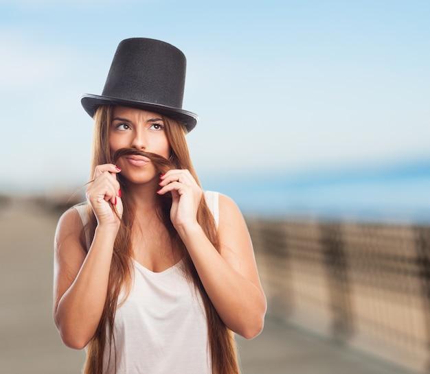 Schoonheid meisje grap portret snor