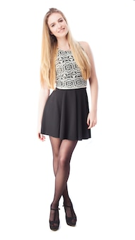 Schoonheid meisje met gekruiste benen