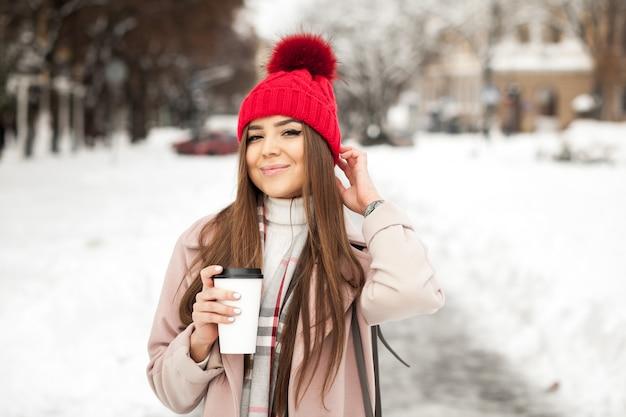 Schoonheid meisje mode sneeuw winter