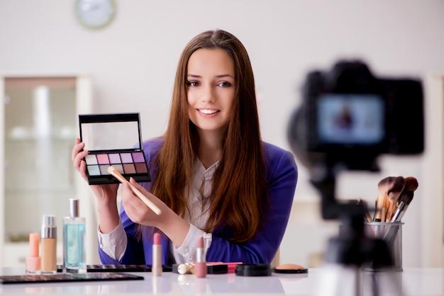 Schoonheid mode blogger video opnemen voor blog