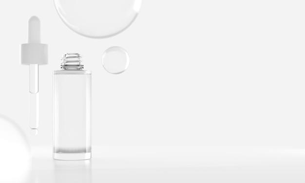 Schoonheid mode cosmetische serum druppelflesje glas helder mockup in gezondheidszorg medisch concept, 3d illustratie redering