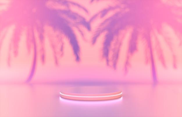 Schoonheid mode podium achtergrond met roze neonlicht en tropische palmbladeren.