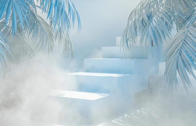 Schoonheid mode podium achtergrond met tropische palmbladeren. 3d render.