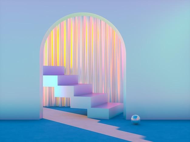 Schoonheid mode podium decor voor productvertoning met iriserende textuur.