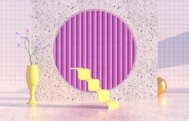 Schoonheid mode podium met geometrische vorm en lentebloem.