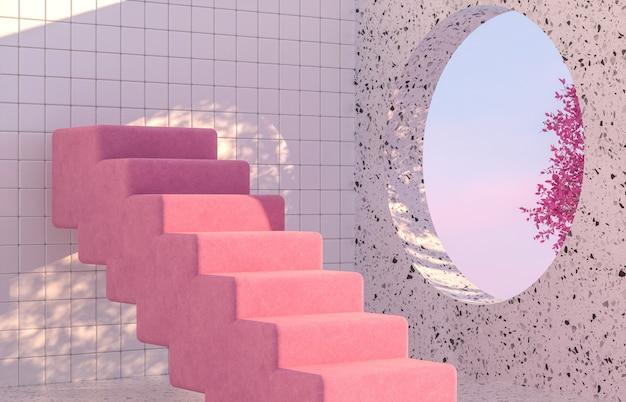 Schoonheid mode podium met geometrische vorm en lenteboom.