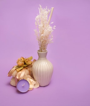 Schoonheid op een violette achtergrond wordt geplaatst die