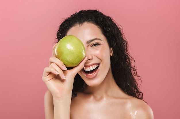 Schoonheid portret van een gelukkige jonge topless vrouw