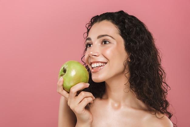 Schoonheid portret van een glimlachende jonge topless vrouw