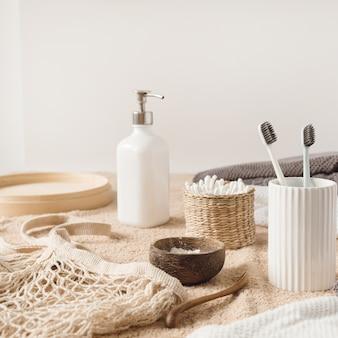 Schoonheid, producten voor de ochtendroutine in de gezondheidszorg. vrouwelijke spa, wellness, behandelingsbenodigdheden