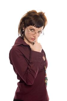 Schoonheid zakenvrouw kijk bril op witte achtergrond