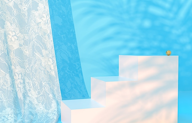 Schoonheidspodium blauwe achtergrond voor productweergave met tropische palmbladeren